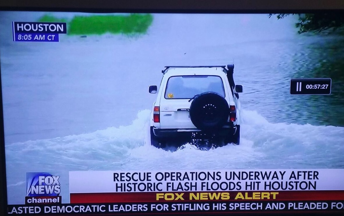 Land Cruiser 80 with snorkel shown during Houston flooding